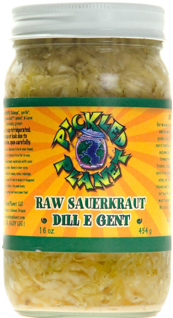 Organic Raw Sauerkraut, ''Dill E Gent'' Variety, 16 Oz Glass Jar