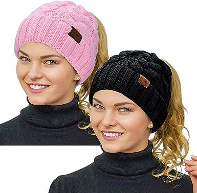 Rosoz Ponytail Beanie for Girls,Kids Winter Warm Beanie Tail Soft Stretch Cable Knit Messy High Bun Hat