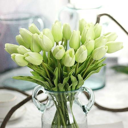 Champagne Leijing 10pcs Tulipes Artificielles Faux Bouquet de Fleurs D/écoration Florale pour Maison Mariage F/ête