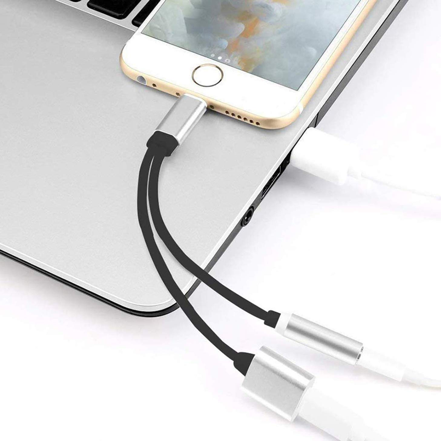 Headphones Adapter for iPhone 8 Aux Cable 3.5mm Jack Cable Earphones Compatible with iPhone Xs//Xs Max//XR //8//8Plus//7Plus 2 in 1 Earphone Music /& Charge Jack Dongle Splitter Cable Support iOS 12/—Silver