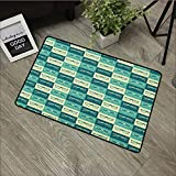 Square door mat W31 x L47 INCH Indie,Pattern with Eyeglasses in Vintage Style Hipster Cool Collection, Petrol Blue Turquoise Cream Natural dye printing to protect your baby's skin Non-slip Door Mat Ca