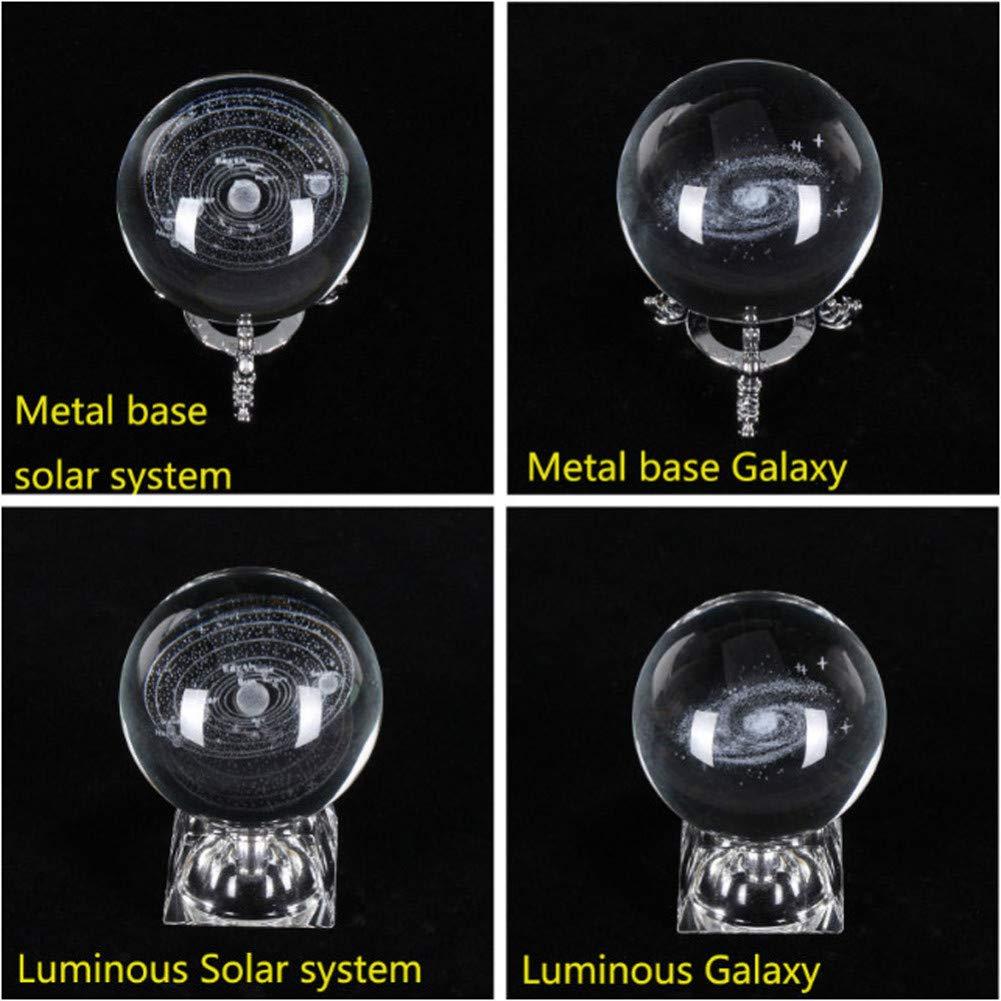 GKJRKGVF 6cm Sistema solar Galaxy grabado en 3D Lámpara de cristal ...