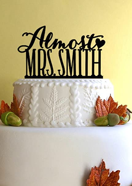 wedding shower bridal shower cake topper almost mrs design with your last name 0030