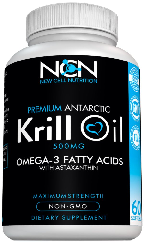 100% Cold Pressed Antarctic Krill Oil Omega 3 by New Cell Nutrition–Easily Absorbed EPA, DHA & Astaxanthin –Powerful Antioxidant –1000 mg/2 capsules –Promotes Cardiovascular & Brain Health