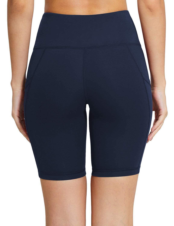 MYIFU Women's Solid Stretch High Waist Board Shorts Training Bike Sport Swim Short (X-Large, Dark Blue-2) by MYIFU (Image #3)