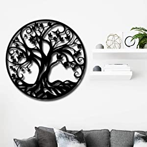 Artmyharbor Metal Wall Art Tree of Life Family Tree 3D Metal Art Decorative Wall Hanging Home Office Decoration Metal Wall Decor Bedroom Living Room Decor Sculpture 24x24inch