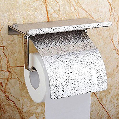 Polished Chrome Euro Tissue Holder (Toilet Paper Holder,Alise GG5100-DB SUS304 Stainless Steel Tissue Holder with Mobile Phone Storage Shelf,Polished Chrome)