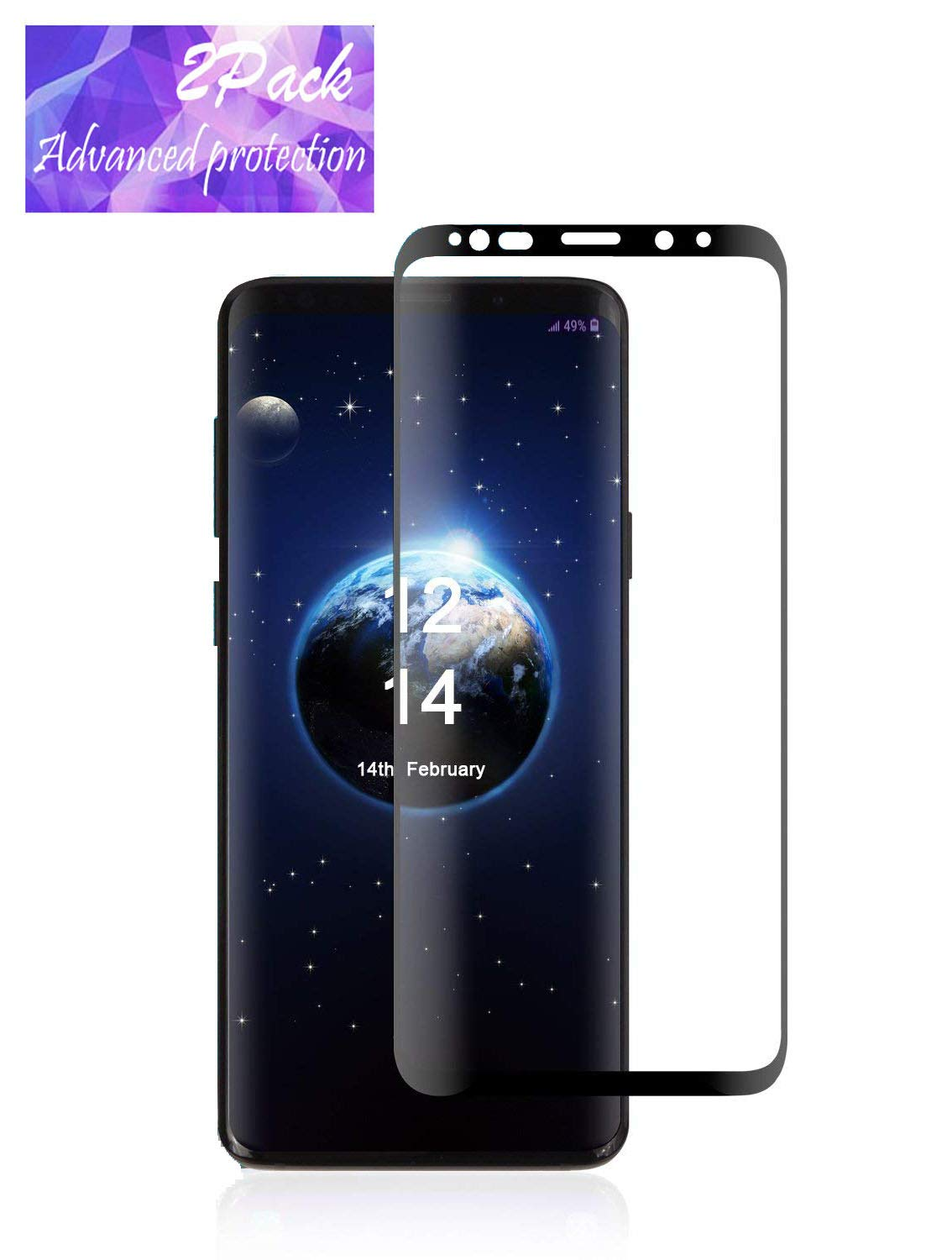LEDitBe For Samsung Galaxy S9 Plus full Screen Protector, Anti-Scratch High Definition Bubble Free Anti-fingerprint Tempered Glass Screen Protector for Samsung Galaxy S9 Plus[Black] [2Pack]