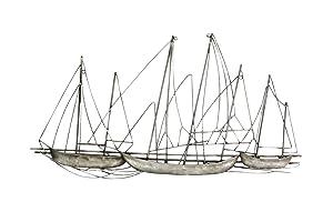 Stratton Home Decor -- Dropship, us home, SUHQX S03897 Antique Silver Grand Sailboat Wall Decor Antique Silver