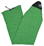 Stretch Surfboard Sock Cover - Fish Nose [CHOOSE COLOR] (Green Horizon Stripe, 6'6 Fish)