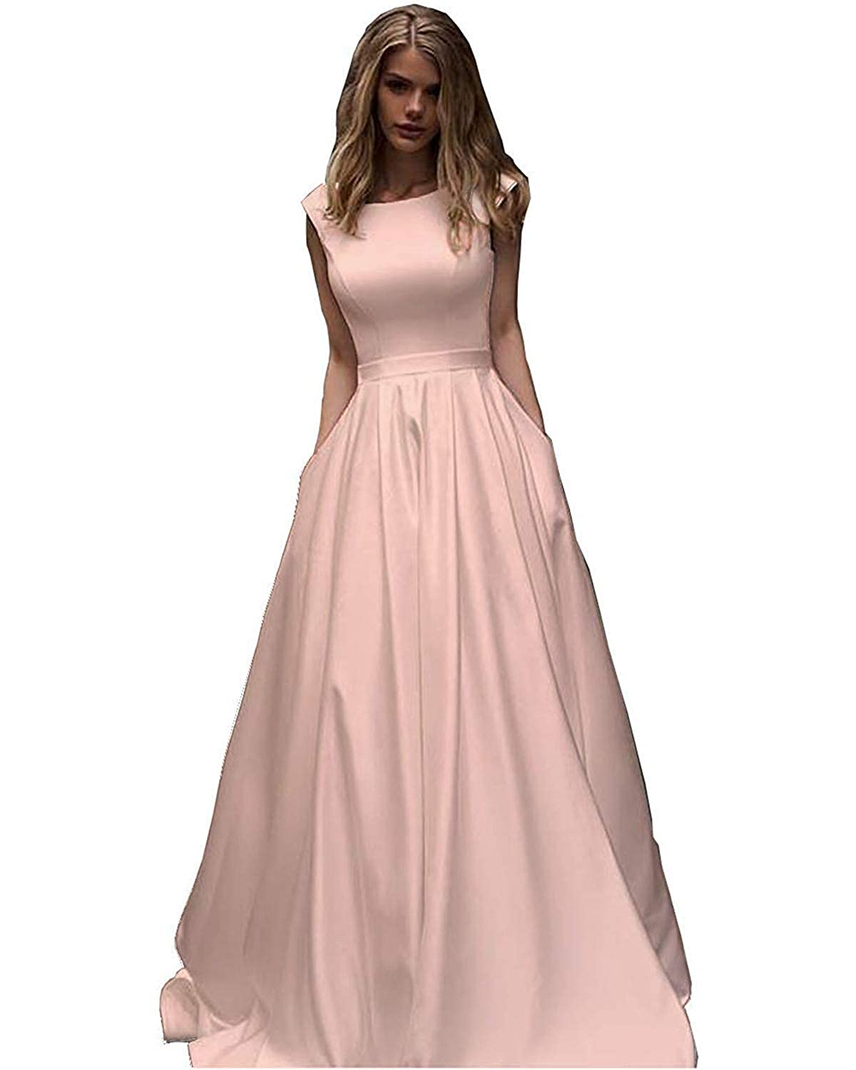 Light Pink CCBubble Womens Long Satin Prom Dresses Scoop Neck Formal Evening Wedding Party Dress