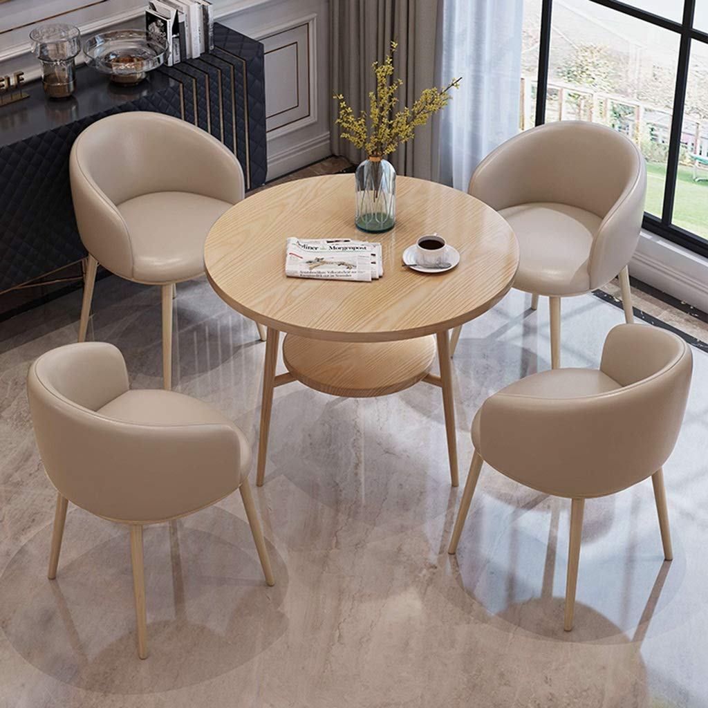 Kök matstolar, mottagning försäljning kontorsmottagning kontor förhandling litet runt bord och läderstol kombination (färg: Brun) Khaki