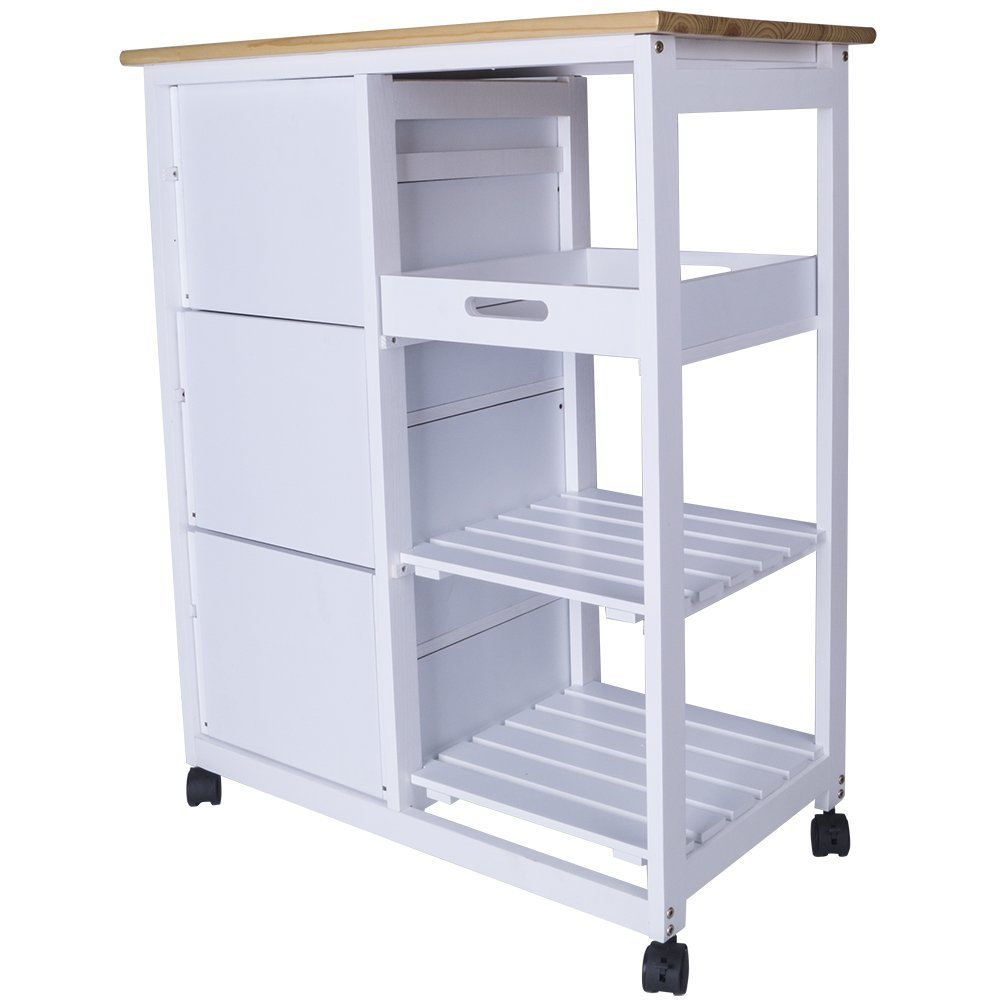 Küchenwagen aus Holz Küchentrolley weiß Servierwagen Rollwagen ...