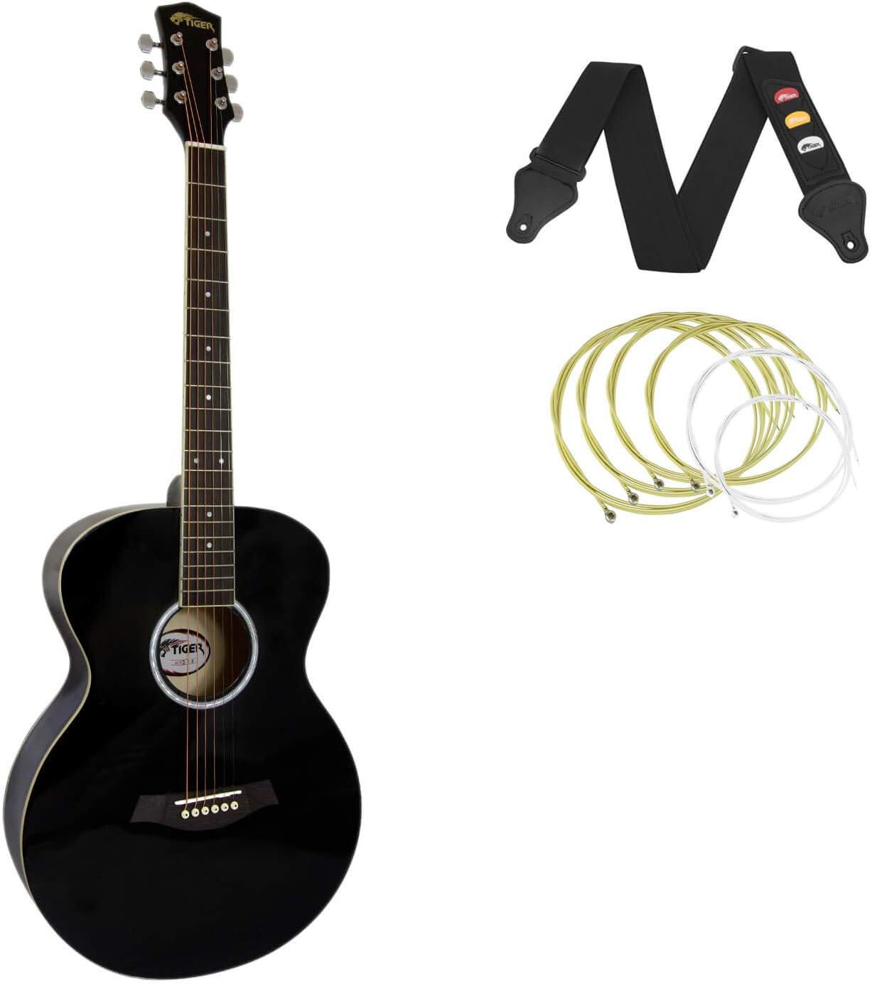 Tiger - Guitarra acústica para principiantes, color negro: Amazon ...
