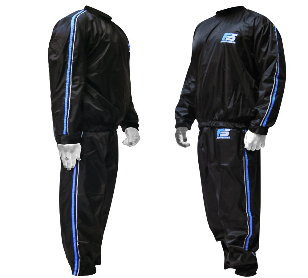 FIGHTSENSE MMA Sauna Sweat Suit Track Weight Loss Slimming Fitness Gym Exercise Training (Blue, 5XL)