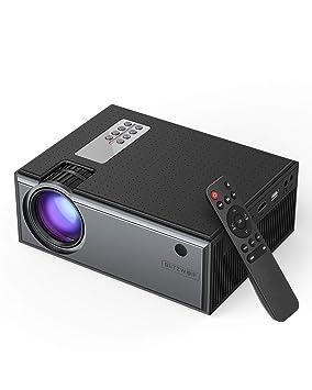 Proyector, BlitzWolf 2019 Mini Proyector Portátil Actualizado con Control Remoto, Proyector Cine en Casa Soporte HD 1080P, Compatible con TV Box, PS4, ...