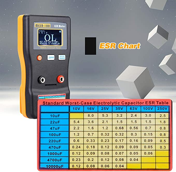 Topuality MESR-100 ESR Capacitance Ohm Meter Professional Measuring Capacitance Resistance Capacitor Circuit Tester with s-m-d Test Clip