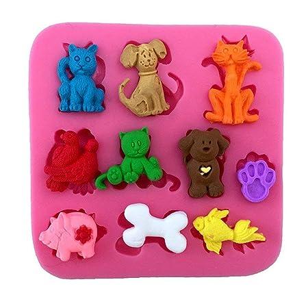 Molde 3D de silicona para pastelería con forma de gato, cerdo y ...