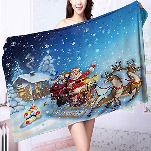 Auraise Home Quick dry bath towelRomantic Vintage Merry Christmas with Reindeer Tree Star Holy Religi Absorbent Ideal for everyday use L63 x W31.2 INCH by Auraise Home
