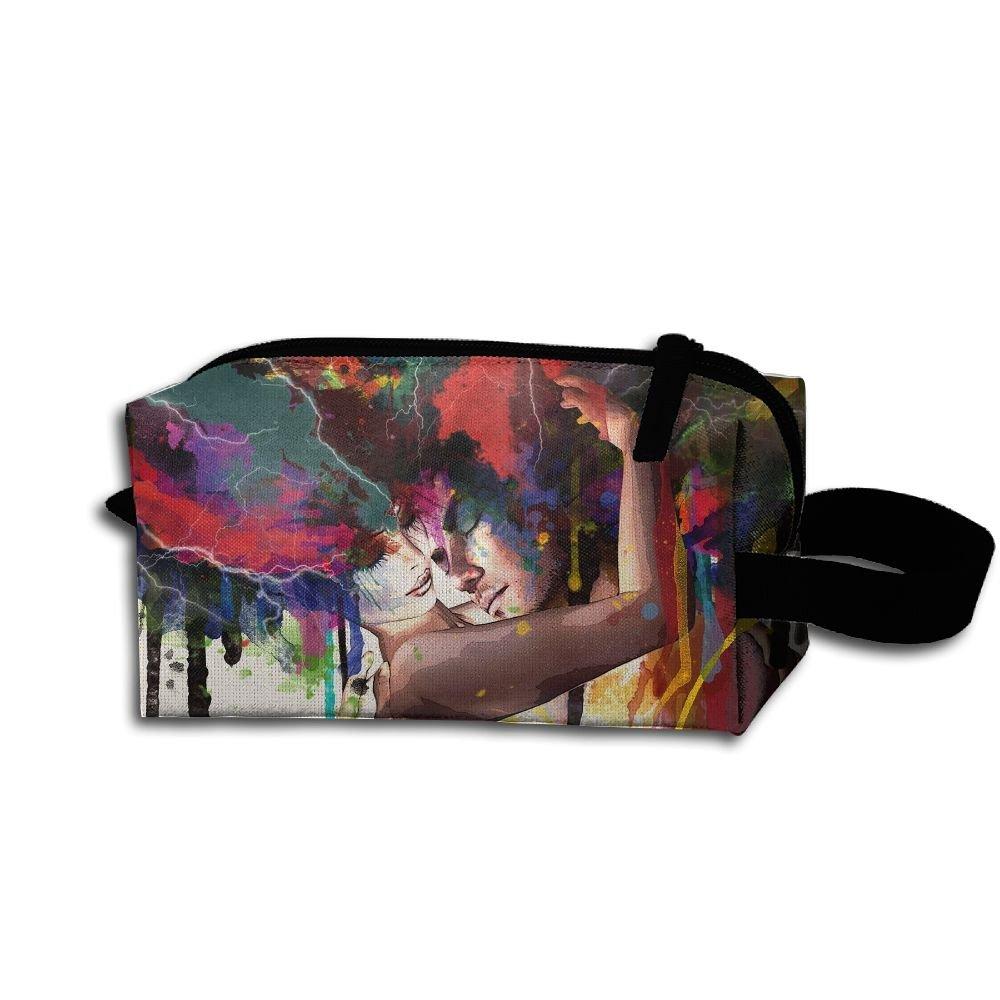 メイクアップコスメティックバッグ抽象マルチカラーLoverアートワークMedicine Bag Zip旅行ポータブルストレージポーチforメンズレディース B07DWL9134