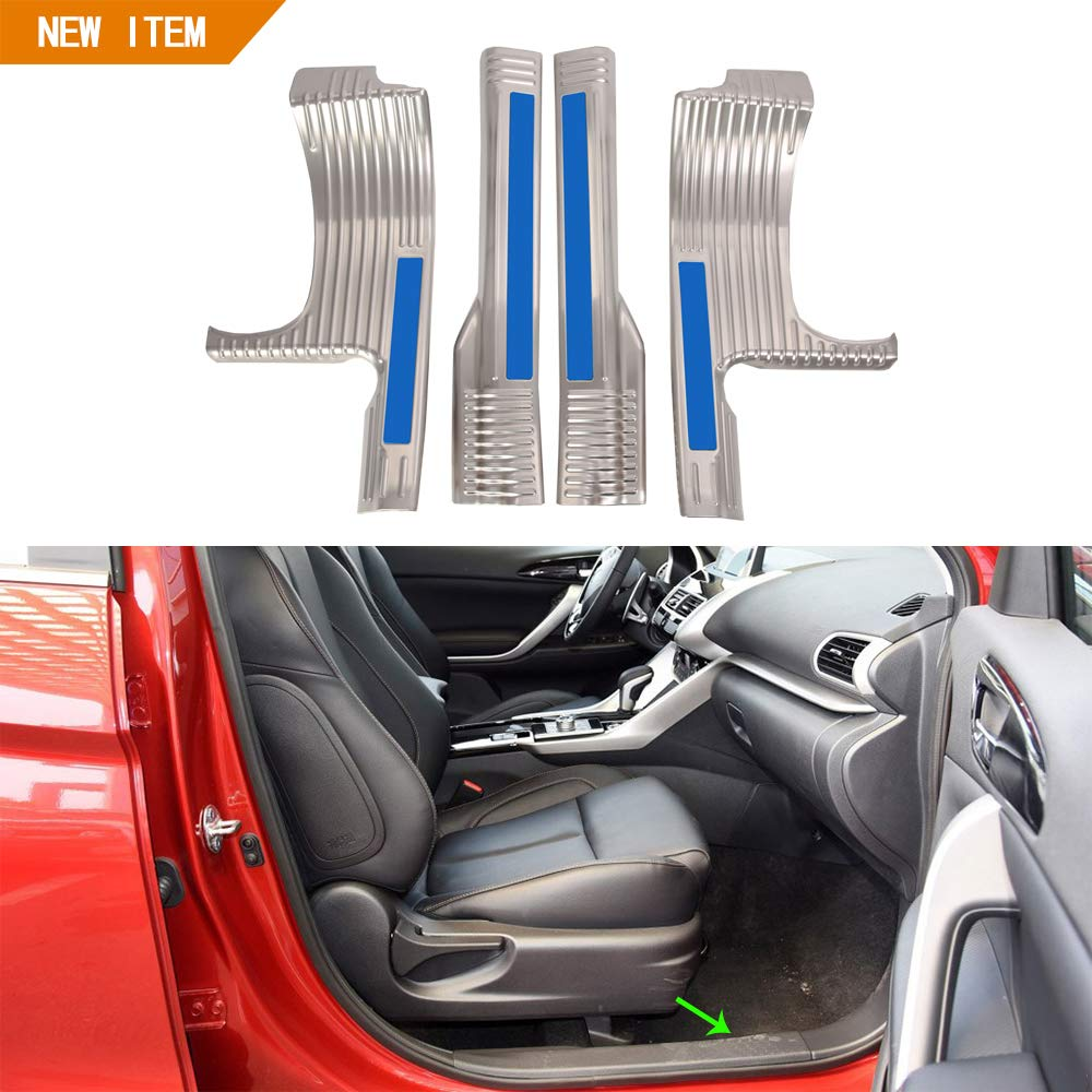 OBL Compatible with Door Scuff Trim Cover 4pcs for Eclipse Cross 2018 2019 Stainless Steel Car Accessories exterior door scuff, silver