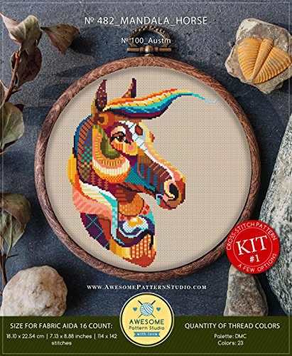 - Mandala Horse #K482 Embroidery Kit | Funny Animals Cross Stitch Kits | How to Cross Stitch | Cross Stitch Designs | Counted Cross Stitch