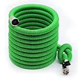 Green 50FT Expandable Garden Hose - Heavy Duty Expanding Hose Magic 2018 Newest Improved with Anti Rust Nickel Plated Brass Connector Lightweight Kink Free Water Garden Hose