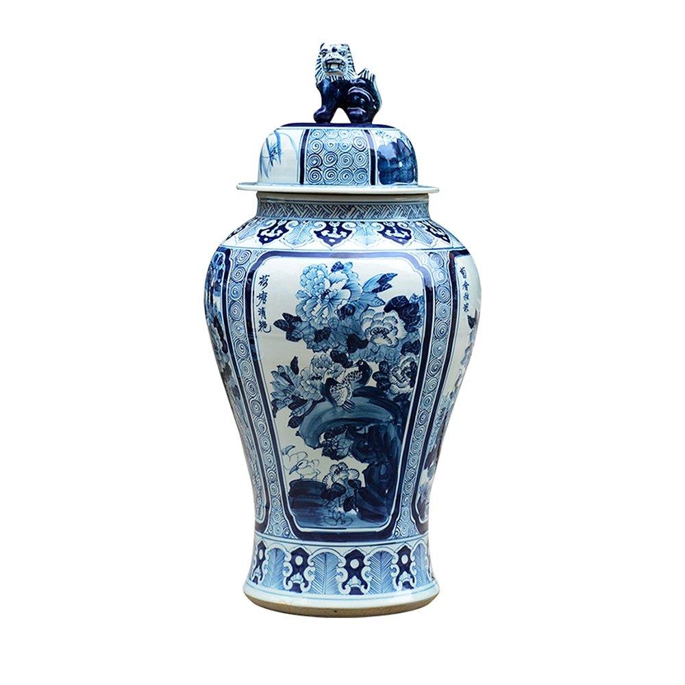 XIAOYAN 景徳鎮陶磁の装飾品梅の蘭と青と白の大きな磁器竹の菊のパターンのストレージの瓶は、カバー蓋と缶コーヒー砂糖の贈り物プレゼント B07DYQP99X