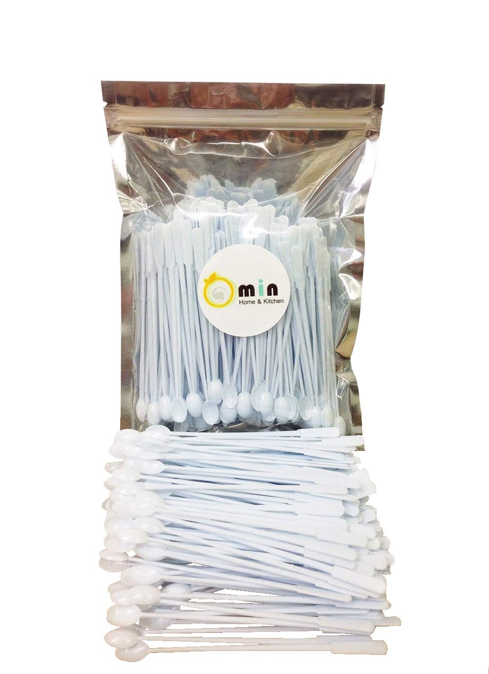 300 Count Omin White Plastic Coffee Stirrers, Tea Stirrer Spoon, Stir Swizzle Sticks, Bar Tool 5 Inch
