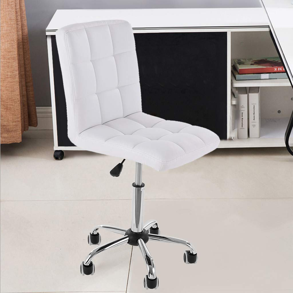 US Fast Shipment Quaanti Home Office Chair Unique Luxury Home Office Chairs Without Arms, Height Adjustable,360-degree Swivel,Adjustable Low Back Armless Office Desk Task Chair (White)