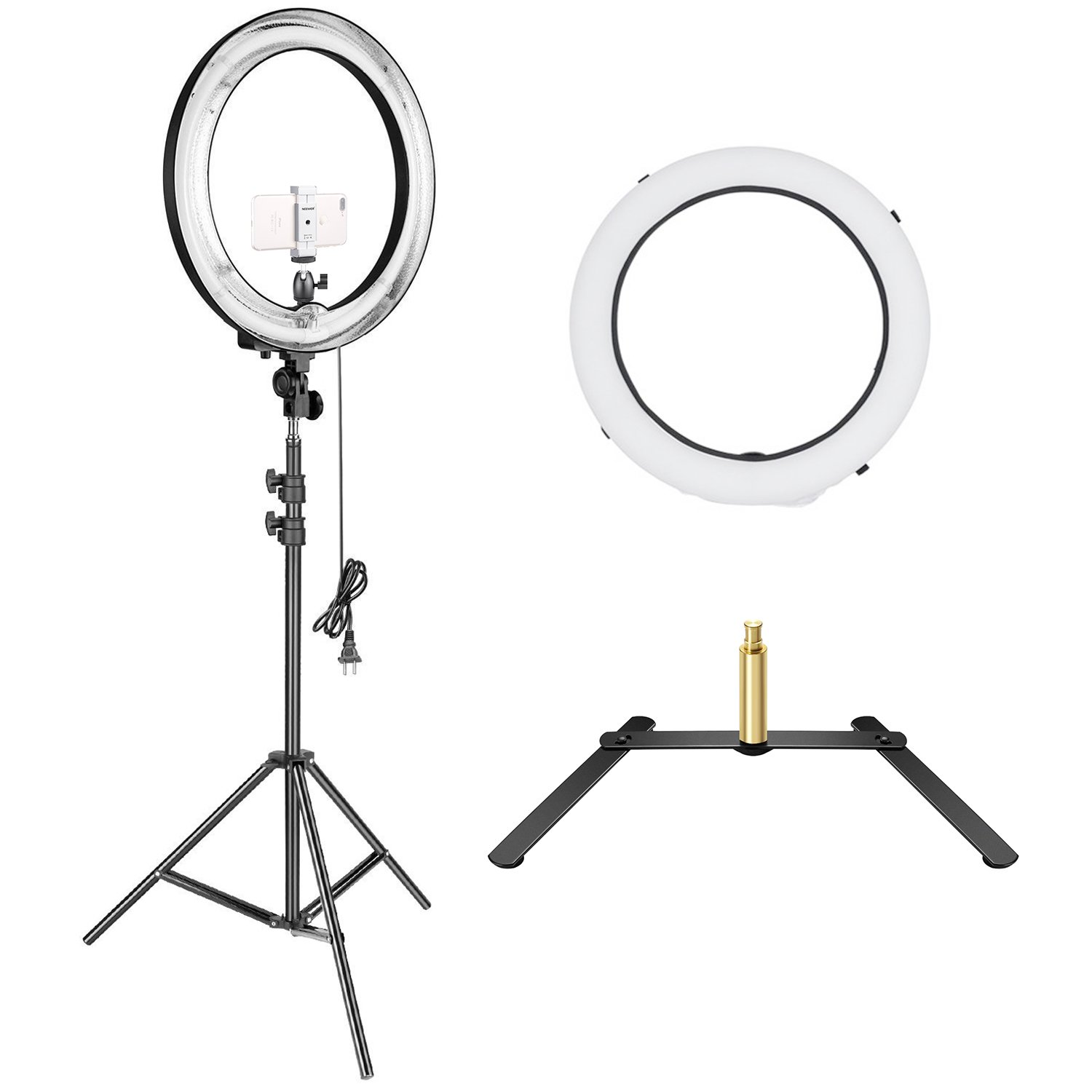 Neewer 18 inches Outer Fluorescent Ring Light Lighting Kit with Both Floor and Table-top Support Stand for Make up Studio Portrait Video Photography, Comes With Diffuser, Phone Holder and Ball Head