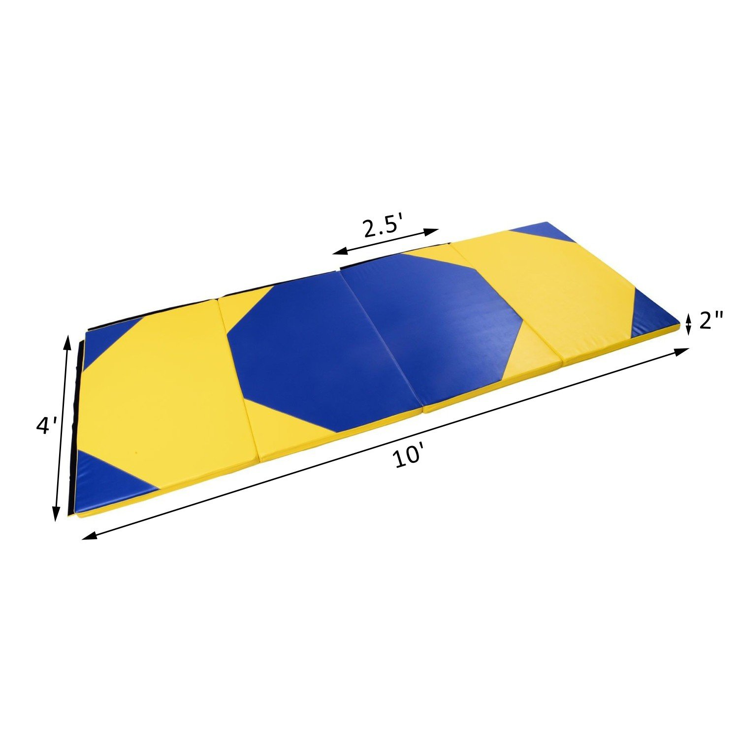 Fold Exercise Yoga Gymnastics Mat 4' x 10' x 2'' PU Soft Tumble Play With Ebook by MRT SUPPLY