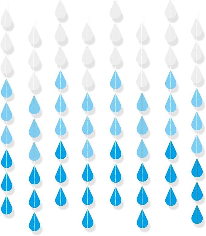 Baby Shower Decorations .. baby shower sprinkle  rain drop  buffet table decor raindrop paper garland ...
