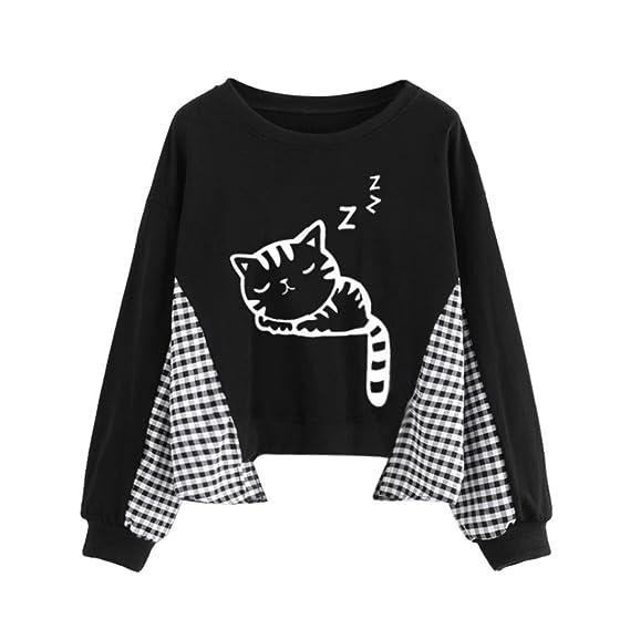 ASHOP Camisas de mujer Las mujeres suelto gato estampado gato escocesa blusa negra Top sudaderas manga