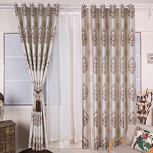 - Leadtimes Floral Embroidery Decorative Curtain Luxury Modern Baroque European Style Half-Blackout Window Treatment for Living Room 2 Panels Set - 8 Grommets per Panel (Yellow, 52