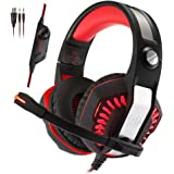 KOTION EACH G2000 2.0 Vibrating Over-ear Gaming Headphones with Mic, 2.2m Cable, LED Light, Noise Reduction Headset for Computer Game, PS4, Xbox One, Laptops, Tablet, Smartphones (Red)