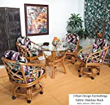 Honey Chiba Rattan Caster Chairs and Table 5 Piece Dining Set (Choice of Fabrics) (Halekoa Black)