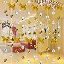 """Hangnuo 1PC DIY 39"""" Crystal Chandelier Wedding Butterfly Bead Strands For Chandelier Home Party Wedding Christmas Decoration Golden"""