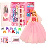 Barwa 44 Accessories for 11.5 Inch 28 - 30 cm Girl Doll: 1 Fashion Closet Wardrobe + 11 Dresses Clothes + 10 Pcs Shoes…
