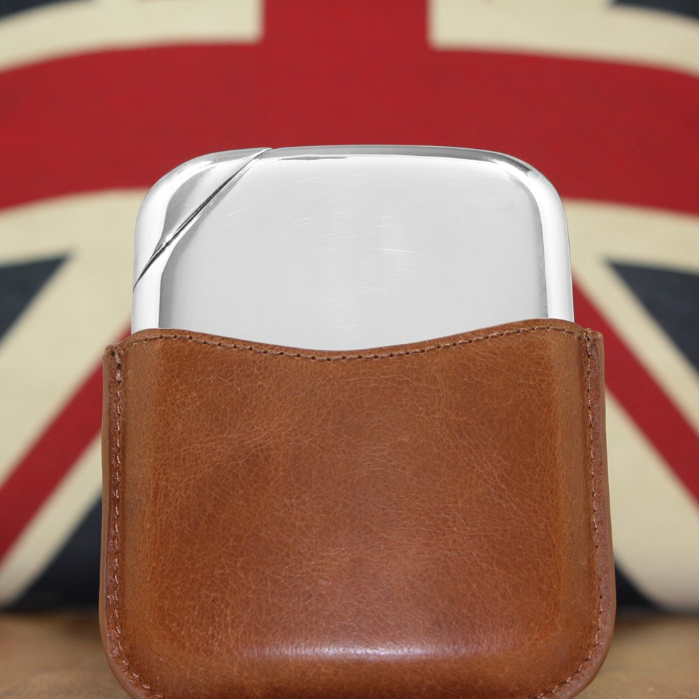 English Pewter Company Novus Flask NOV01 Luxury Pewter Liquor Hip Flask Contemporary Design with Genuine Leather Pouch