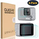 HEYUS [2 Pack] Screen Protector for GoPro Hero 7 (2018) White/Silver, Premium 9H Hardness Tempered Glass Screen Protector Front + Back Glass Lens Protector Film for Go Pro Hero7 White/Silver
