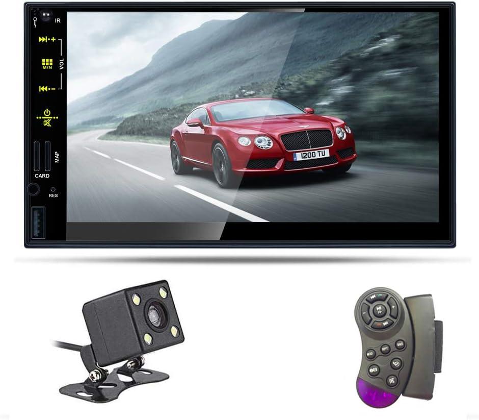 Bosszi Radio 2 Din Autoradio Bluetooth Pantalla Táctil HD 7 Pulgadas Soporte Estéreo Llamadas Manos Libres Bluetooth / FM / USB / Tarjeta TF / Entrada AUX (Incluida Cámara de Visión Trasera)