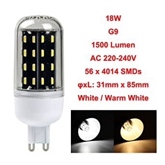 Laitb G9 18W 220V Bombillas del Maíz 56 LEDs 4014 SMD 360 Grados Iluminación de Ahorro