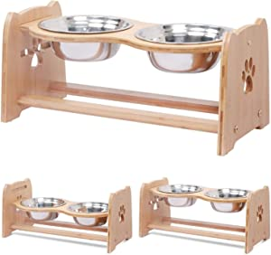 X-ZONE PET Raised Pet Bowls for Cats and Dogs, Adjustable Bamboo Elevated Dog Cat Food and Water Bowls Stand Feeder with 2 Stainless Steel Bowls and Anti Slip Feet (Height 7.9