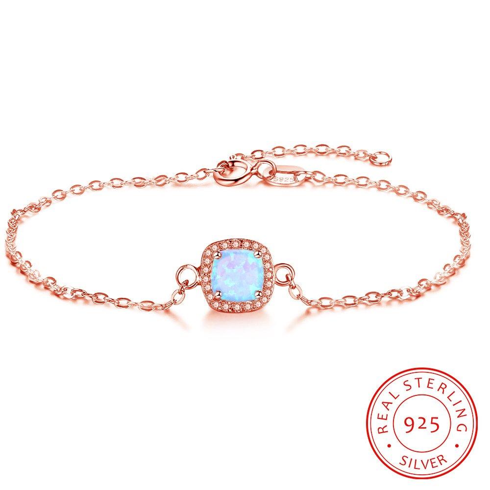 EnjoIt S925 Created Opal Sterling Silver Bracelet Clear CZ Round Gemstone Jewelry for Women Adjustable 6.3''+1''