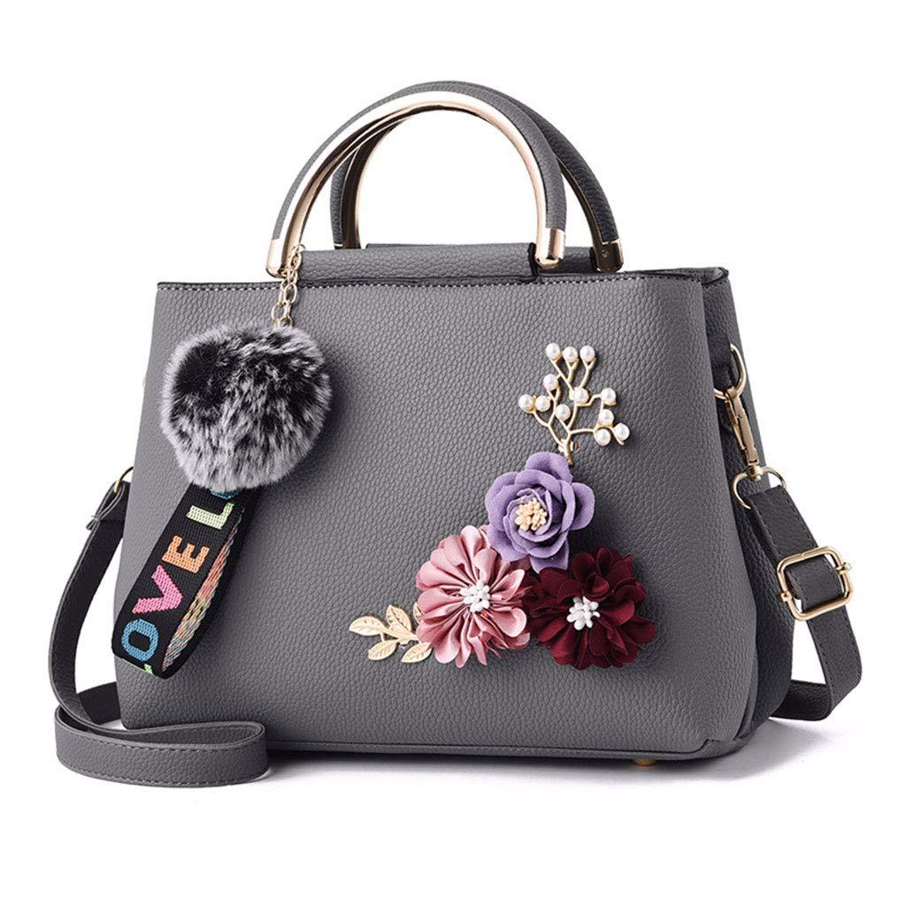 Womens Handbag Flower Single Shoulder Bag Crossbody Messenger Hobo Tote Top Handle Bags Deep Gray Shoresu Women Shoulder Bag