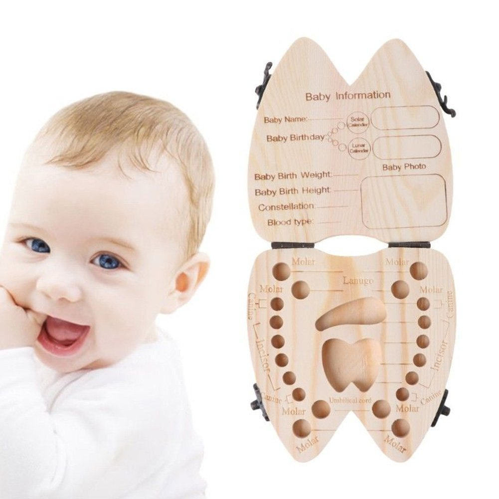 English Baby Teeth Save Boxes Wooden Tooth Fairy Souvenir Box, Child Kids Tooth Keepsake Holder Organizer Ragdoll50