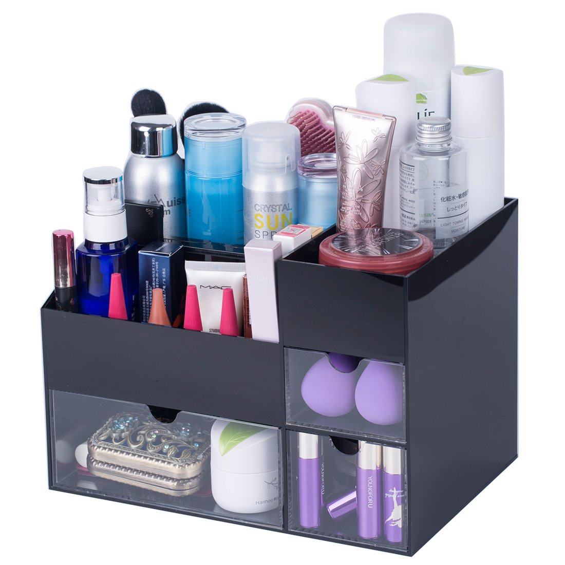 Newslly Black Large Acrylic Makeup Organizer 3 Transparent Drawers Cosmetic Jewelry Storage Display Box with 5 Compartment for Bathroom Bedroom Vanity Countertop Table Office Desk