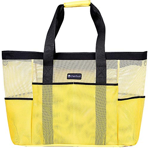(cherrboll XXL Mesh Beach Pool Bag Tote Lightweight with Zipper 8 Large Pockets Solid Base (Yellow))