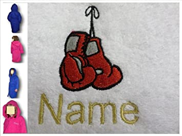Albornoz con capucha para niños con guantes de boxeo Logo y tira de nombre de cada tu elección, a partir de 6 en azul.: Amazon.es: Hogar